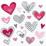 Valentine's Day HeartsvSketchy Doodles Love Set — Stock Vector