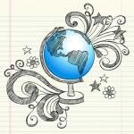 Постер, плакат: Geography Classroom Globe Planet Sketchy Doodle Vector