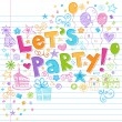 Party Happy Birthday Doodles Vector Illustration — Imagens vectoriais em stock