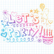 Let's Party Happy Birthday Doodles Vector Illustration — Stock Vector