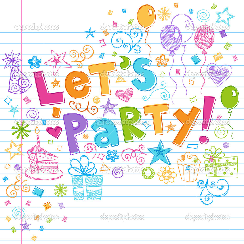 Party Happy Birthday Doodles Vector Illustration — Stock Vector ...