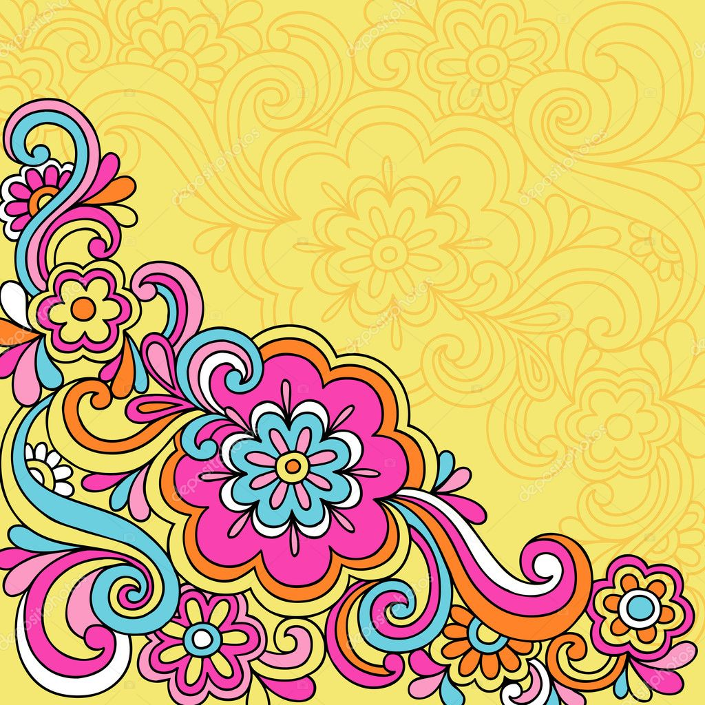 Psychedelic Flowers and Swirls Notebook Doodle Vector — Stock Vector ...: depositphotos.com/8500548/stock-illustration-psychedelic-flowers...