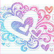 Valentine's Day Hearts Sketchy Doodles Love Vector — Stock Vector