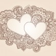 Valentine&#039;s Day Henna Hearts Love Doodles Vector - Stock Vector