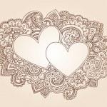Valentine's Day Henna Hearts Love Doodles Vector — Stock Vector