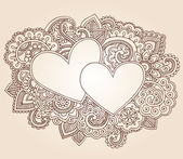 Valentine's Day Henna Hearts Love Doodles Vector — Stock Vector