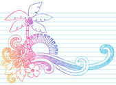 Zomer vakantie tropisch strand schetsmatig doodles — Stockvector