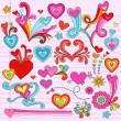 Valentine Love Hearts Notebook Doodles Vector Illustration — Stock Vector #8540042