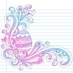 Easter Egg Spring Flowers Sketchy Doodles — Stock Vector