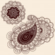 HennMehndi Paisley Flowers Doodle Vector Design Elements — Stock Vector #8627502