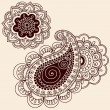 Henna Mehndi Paisley Flowers Doodle Vector Design Elements - Stock Vector