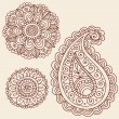 Henna Flowers Doodles Vector Design Elements — Stock Vector
