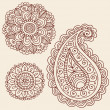 Henna Flowers Doodles Vector Design Elements - Stock Vector