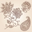 Henna Flowers and Paisley Doodles Vector Design Elements - Stock Vector