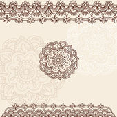 Henna Flower and Border Design Doodles Vector Elements — Stock Vector