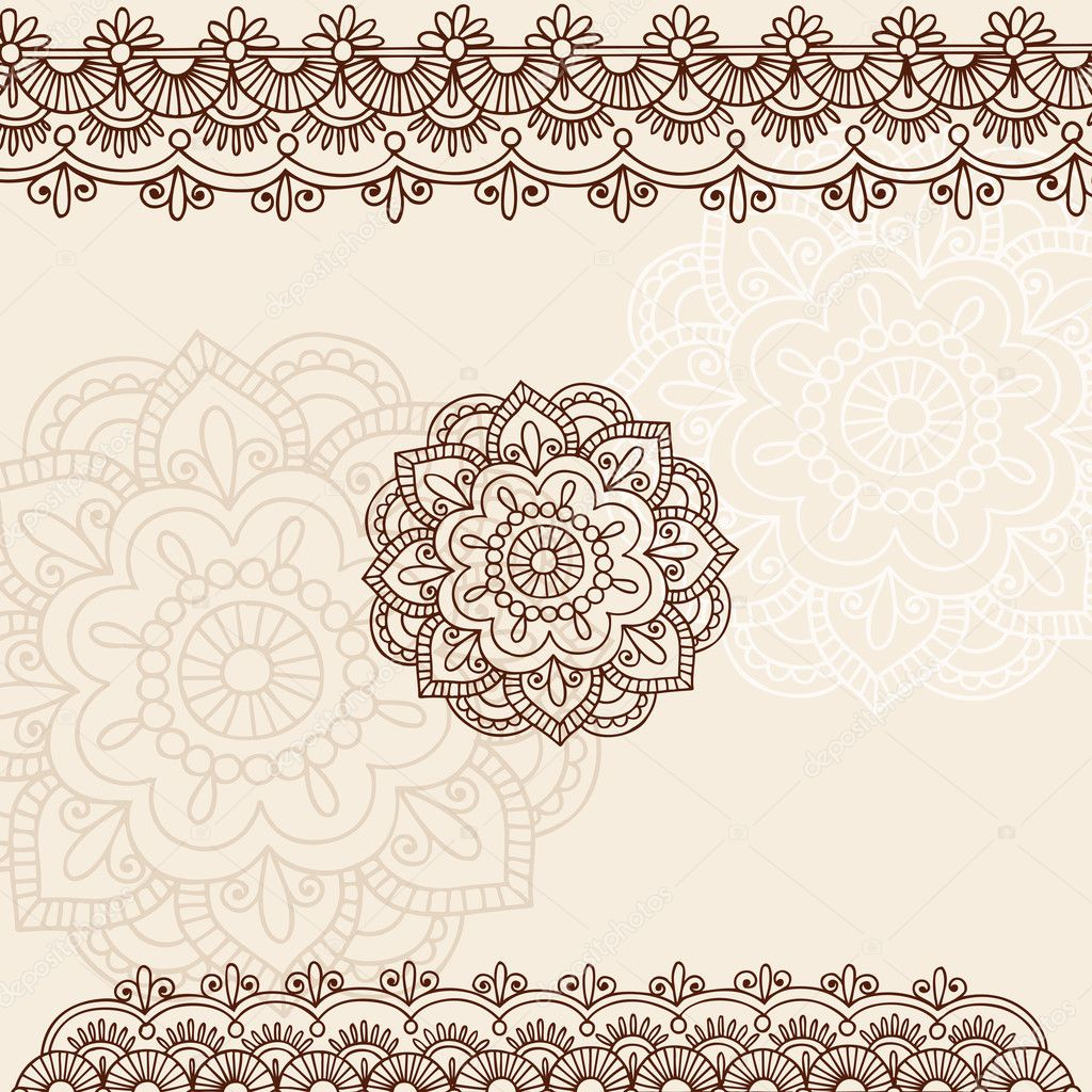 Hand-Drawn Henna Mehndi Tattoo Flowers and Paisley Borders Doodle Vector Illustration Design Elements  — Stock Vector #8627514
