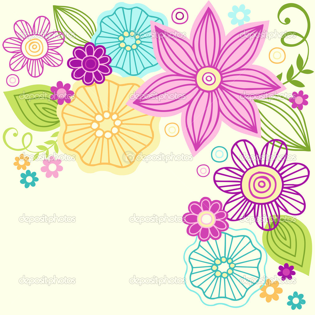 Cute Colorful Flower Doodles Vector Illustration Stock