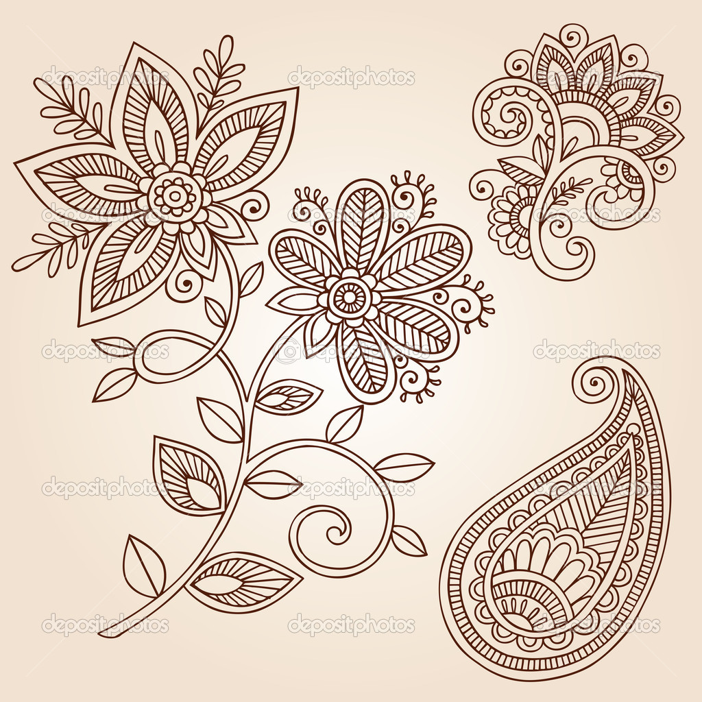 Paisley Flowers Henna Tattoo Design: Henna Flowers And Paisley Doodles Vector Design Elements