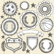 Sketchy Sports Emblem Badges Doodle - Stock Vector