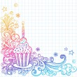 Birthday Cupcakel Sketchy Doodle Vector Design — Stock Vector #8653690