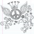 Peace Sign with Wings Sketchy Doodles Vector - Stok Vektr