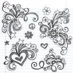 Back to School Sketchy Doodle Vector Design Elements Set — Stock Vector