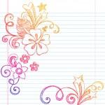 Hibiscus Sketchy Summer Notebook Doodle Vector — Stock Vector #8658009
