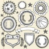 Sketchy Sports Emblem Badges Doodle — Stock Vector