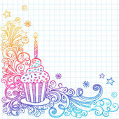 Birthday Cupcakel Sketchy Doodle Vector Design — Stock Vector