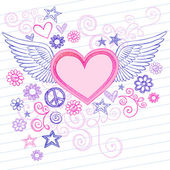 Sketchy Heart with Angel Wings Doodles — Stock Vector
