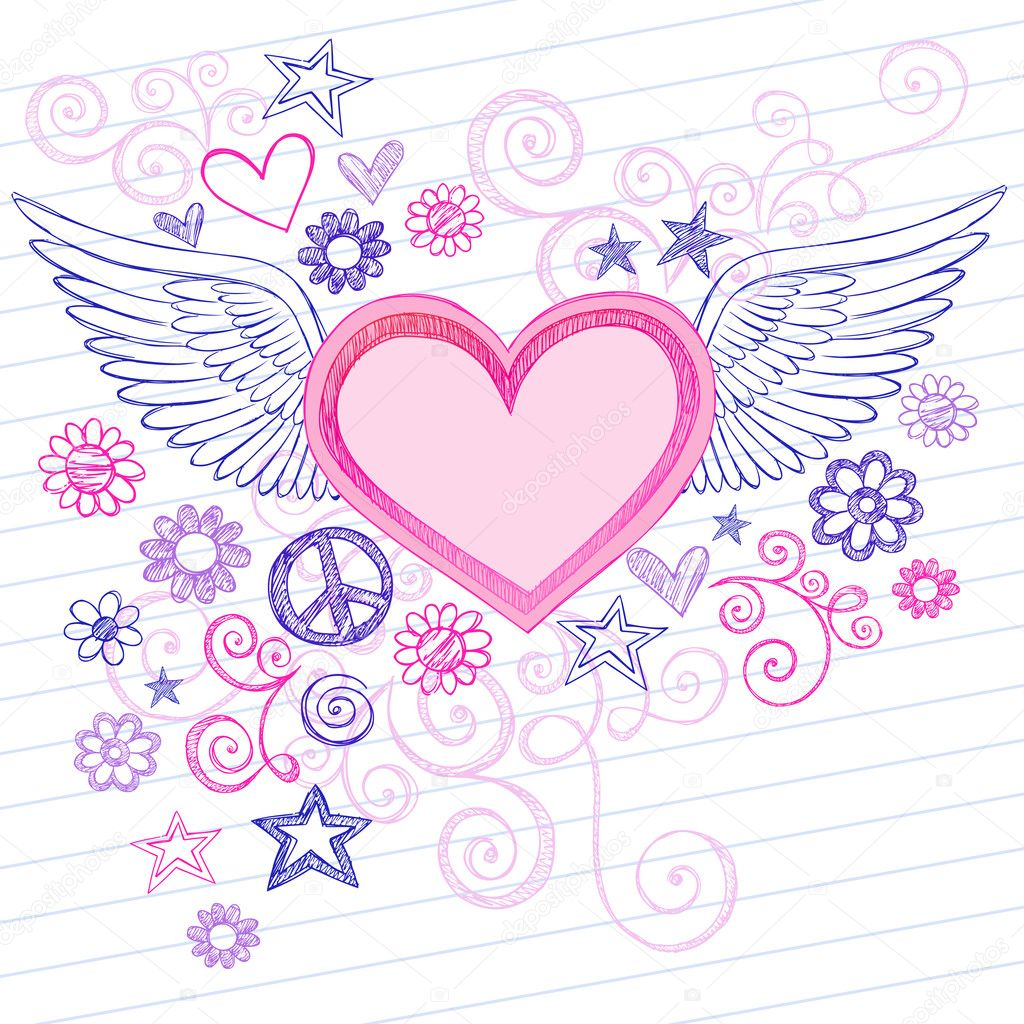 Cool Hearts With Angel Wings Sketchy heart with angel wings