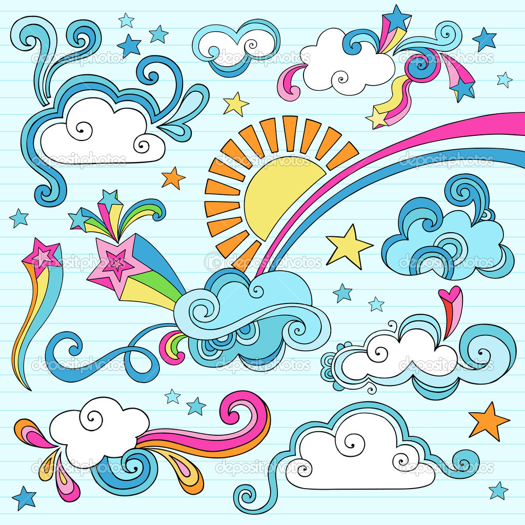 Psychedelic groovy clouds sky notebook doodles stock illustration