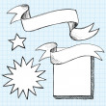 Scroll Banner Sketchy Doodles Frame — Stock Vector #8680671