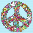 Peace Sign Dove Psychedelic Doodles — Stock vektor