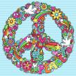 和平标志鸽迷幻涂鸦 — 图库矢量图片