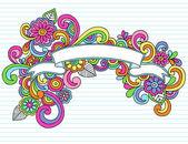 Banner Ribbon Frame Doodles Vector — Stock Vector