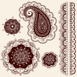 Henna Tattoo Paisley Flower Doodles Vector — Stock Vector