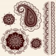 Henna Tattoo Paisley Flower Doodles Vector — Stock Vector #8693111