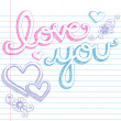 Love You 3D Lettering Valentines Sketchy Doodles — Stock Vector