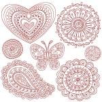 Henna Mehndi Tattoo Doodles Vector Design Elements — Stock Vector