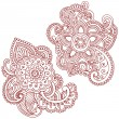 Henna Flower Doodles Vector Design Elements - Stock Vector