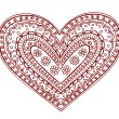 Henna Heart Doodles Vector Design Elements - Stock Vector