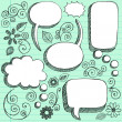 3D Sketchy Speech Bubbles Vector Design Elements — Stock Vector