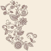 Henna Tattoo Paisley Flowers and Vines Doodles Vector — Stock Vector