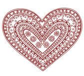 Henna Heart Doodles Vector Design Elements — Stock Vector