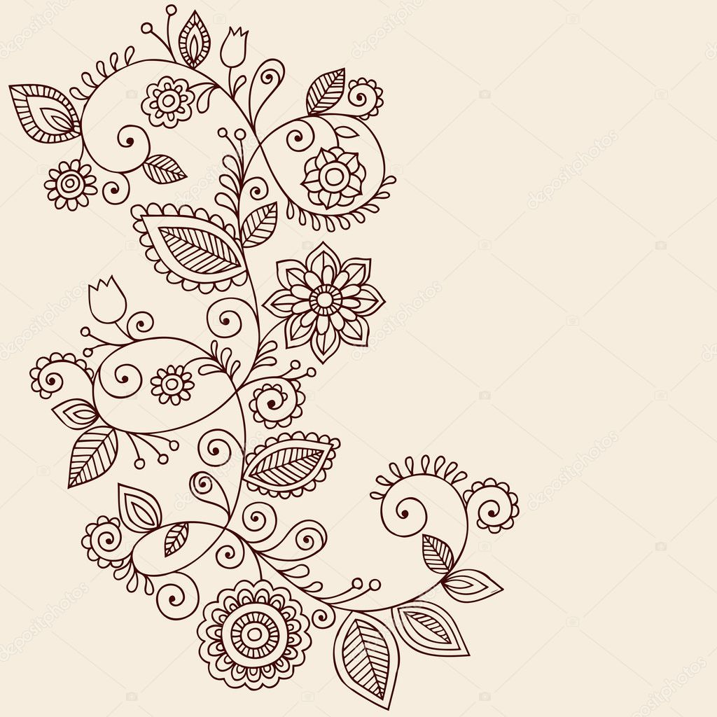 Hand-Drawn Abstract Henna Mehndi Mandala Flowers and Vine Paisley Doodles Vector Illustration Design Elements — Stock Vector #8693185