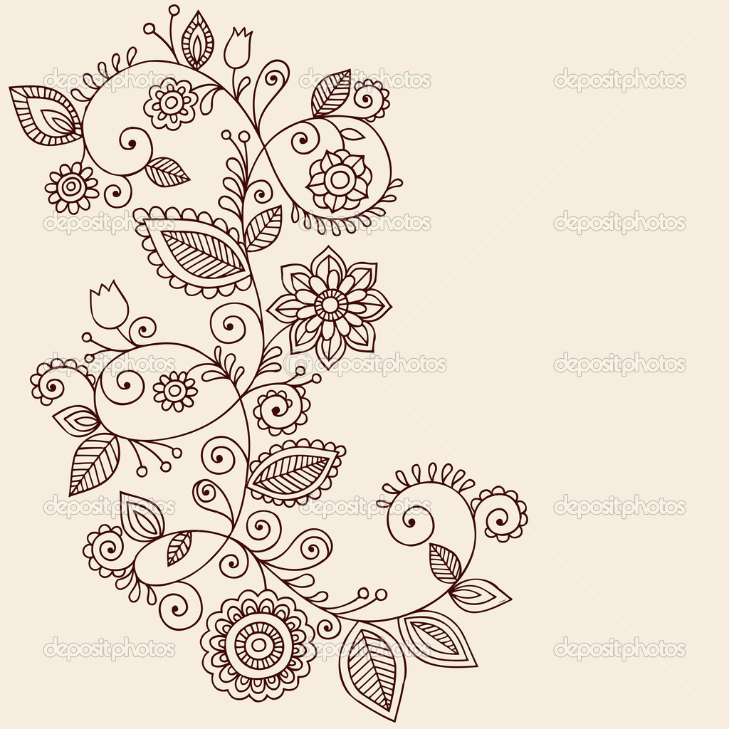 Paisley Flowers Henna Tattoo Design: Henna Tattoo Paisley Flowers And Vines Doodles Vector