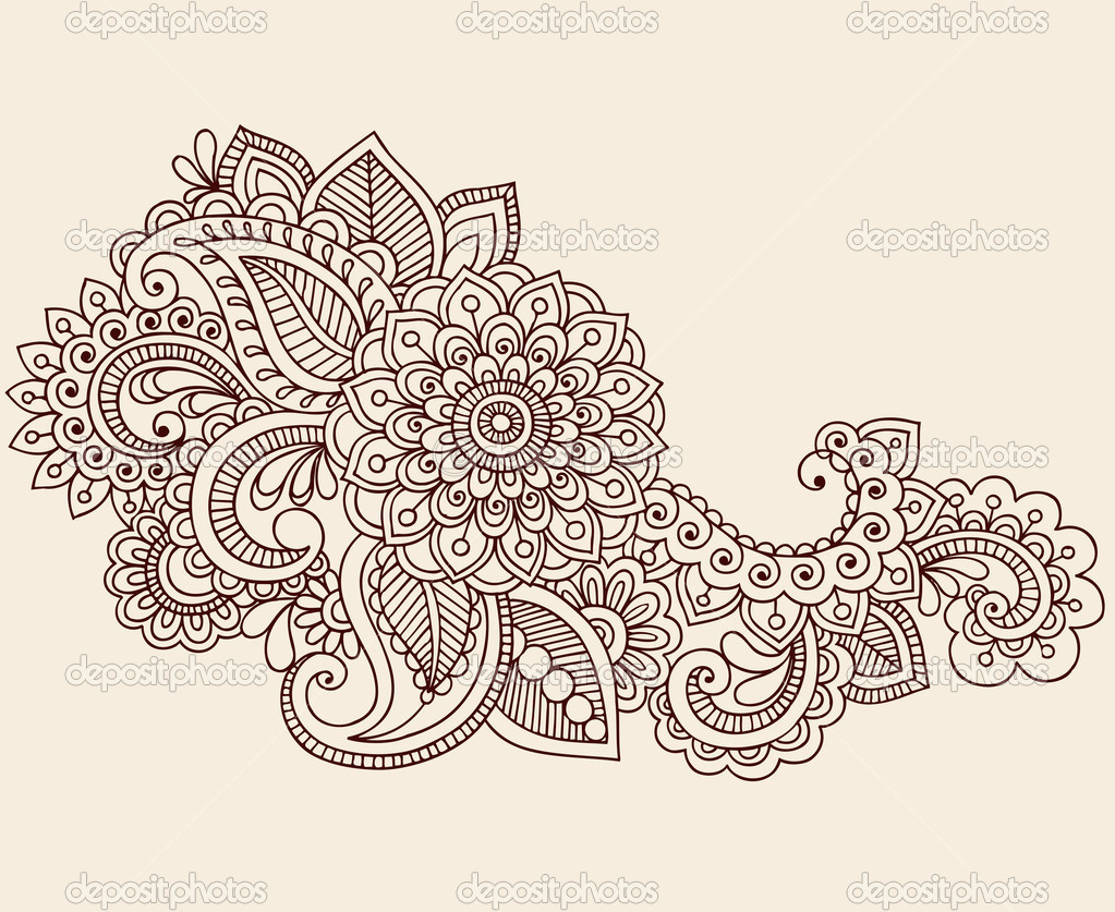 Hand-Drawn Henna Mehndi Tattoo Paisley Flowers Doodles Vector Illustration Design Elements  — Stock Vector #8693203