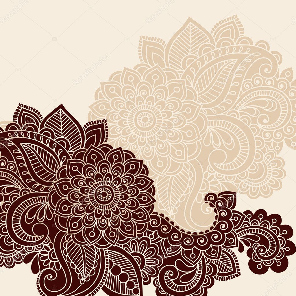 Hand-Drawn Henna Mehndi Tattoo Paisley Flowers Doodles Vector Illustration Design Elements  — Stock Vector #8693225