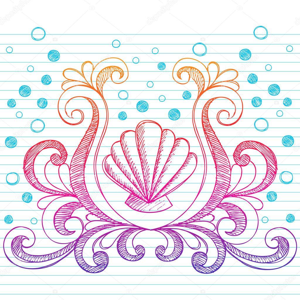 Hand Drawn Shells And Swirls Crest Summer Beach Sketchy Notebook